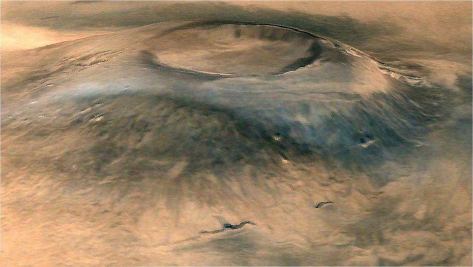 今年早些时候印度火星探测器拍摄的阿尔西亚火山(Arisa Mons)3D照片