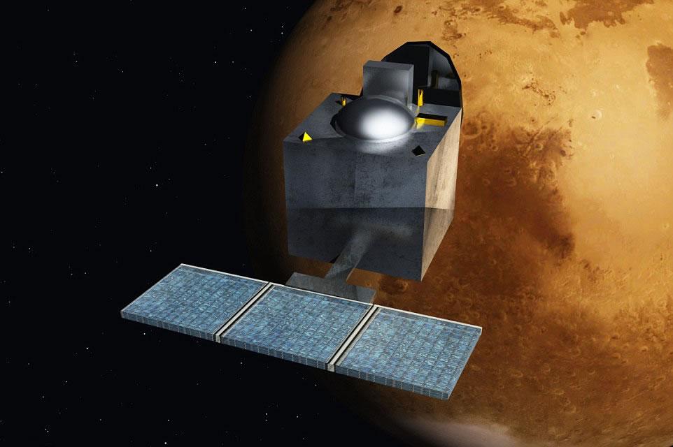 艺术家复原印度火星探测器抵达火星时的景象
