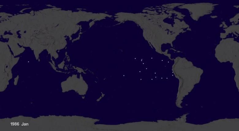 在1986年时,垃圾乱弃置海洋的问题并不算严重。