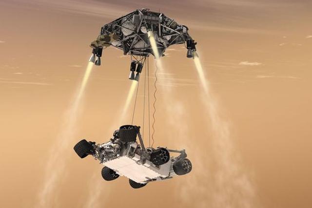 新一代火星车利用了好奇号的着陆装置,但由于自身重量的增加,天空起重机减速方案也需要升级