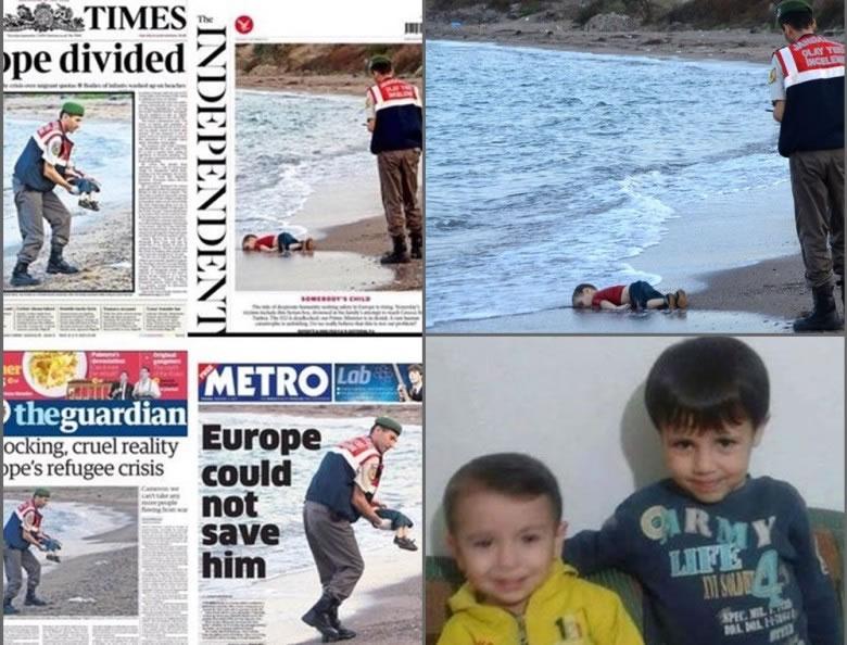艾兰伏尸沙滩的照片,成为英国传媒的头版。右下为艾兰(黄衣)及他的哥哥。