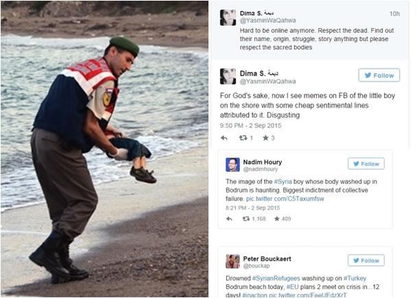 艾兰伏尸沙滩的照片,引起网民(右)热议。图为警员抱走艾兰遗体的一刻。