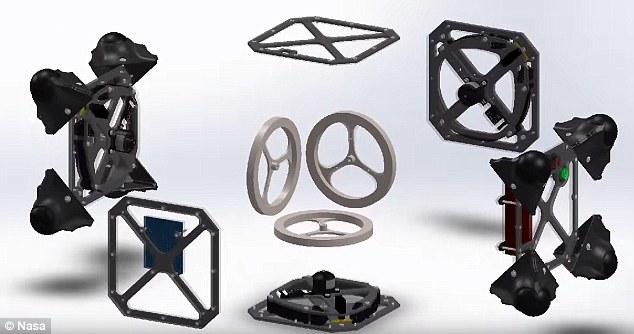 """""""刺猬""""漫游者的基础结构是一个外部装有突起结构的立方体,可以利用内部调速轮的旋转和制动进行运动。"""