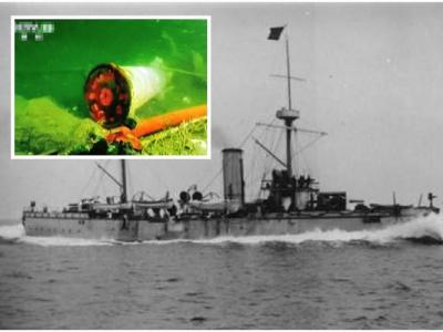 """丹东黄海发现的沉船""""丹东一号""""证实为121年前甲午战争沉没的北洋舰队致远舰"""