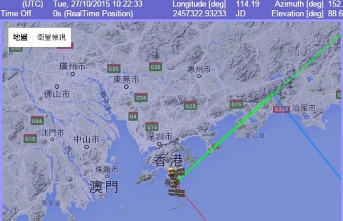 国际太空站于香港时间约6时22分,在香港上空掠过。