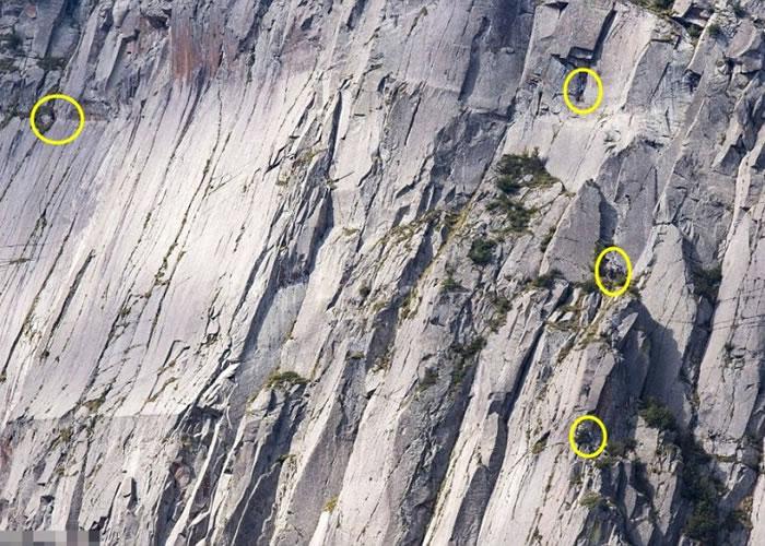 4名攀山者在这里(黄圈),你信吗?