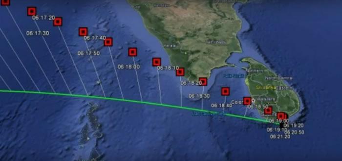 """计算得出的神秘小天体""""WT1190F""""陨落轨迹,图中时间为斯里兰卡当地时间。"""