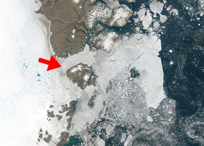 科学家警告察哈里埃伊斯特罗姆(箭头示),正快速融入大西洋。