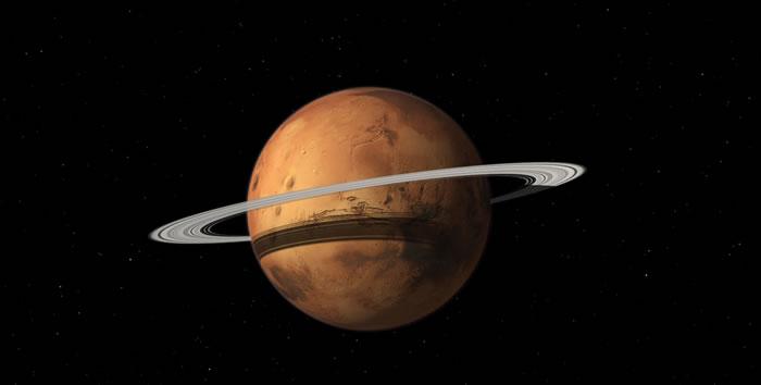 火星两颗卫星中的一颗可能在2000万年到4000万年以后分崩离析成为火星光环