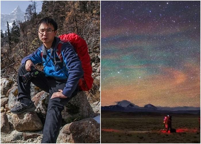 戴建峰(左)拍摄的喜马拉雅山星空,获选刊登在美国太空总署的官网。