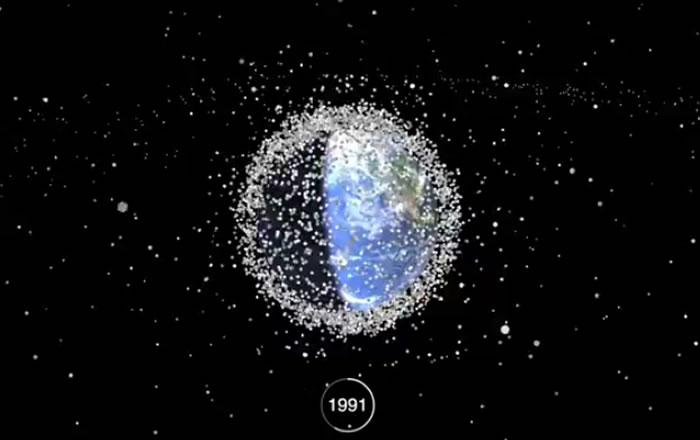 用1分钟看60年来太空垃圾的堆积