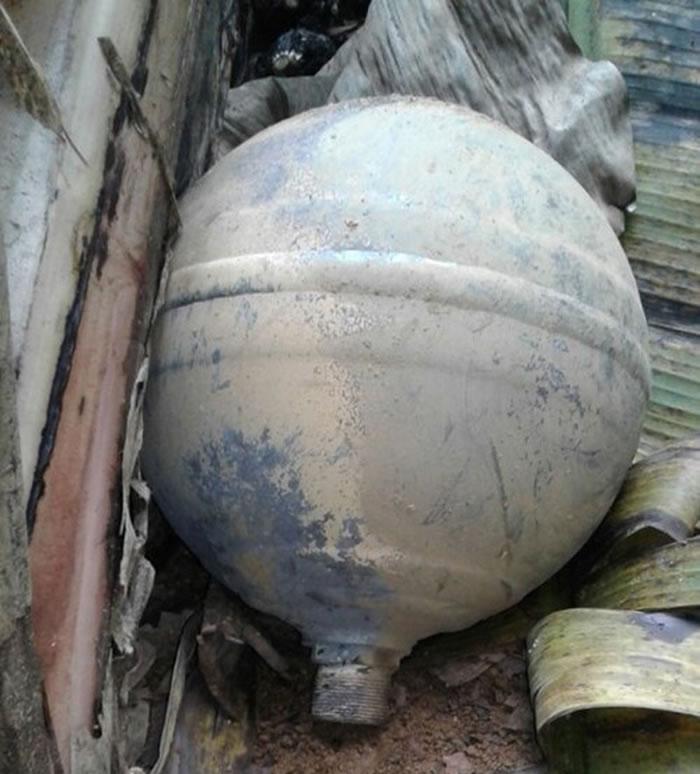 报道称,这个六公斤球体在安沛省的一处花园被发现。