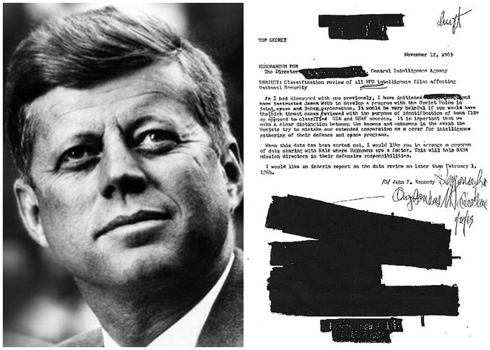 肯尼迪(左图)遇刺被指与向CIA致函(右图)调查UFO有关。