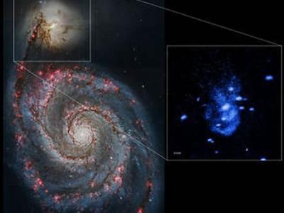 """美国宇航局""""钱德拉""""X射线天文台最新发现NGC 5195星系一个超大黑洞""""打嗝"""""""