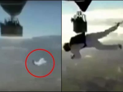 法国知名极限运动员Tancrede Melet在热气球间走钢丝失手摔死