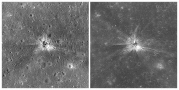 这两张图像展示的是阿波罗16号期间土星5号火箭的S-IVB段撞击月面留下的撞击痕迹。此次撞击发生在1972年4月,这两幅图像的宽度均为400米,上方为北方