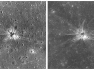 """""""月球勘测轨道器""""识别出""""阿波罗-16""""登月任务火箭残骸坠落月球表面时留下的撞击坑"""