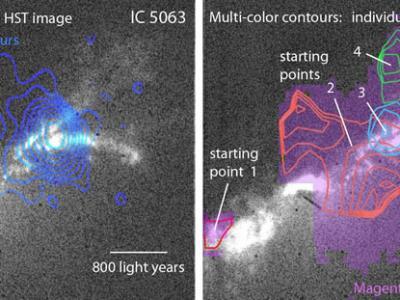 星系IC 5063内的黑洞喷流与星际介质云相互作用导致产生多股星风