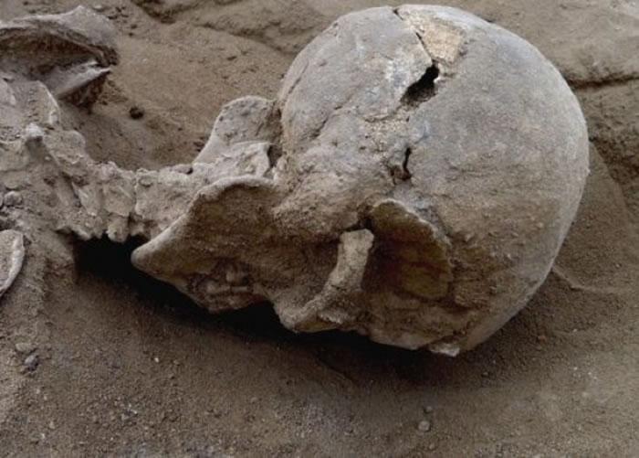 部份尸骸的头骨裂开