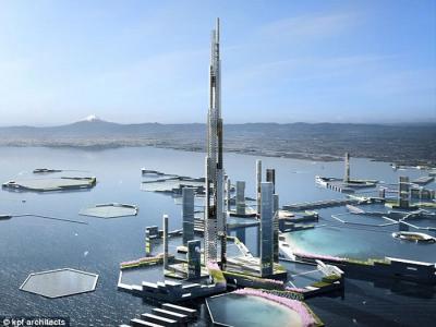 日本东京湾拟建造可容纳50万人的未来城市Next Tokyo 摩天大厦高哈利法塔逾倍