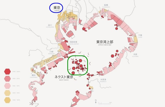 Next Tokyo(绿圈)的位置,与东京(蓝圈)相距不远。