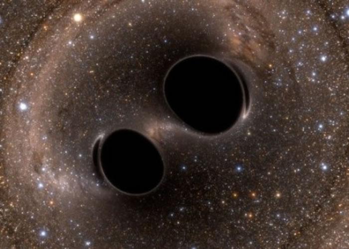 LIGO的科学家侦测到两个黑洞碰撞所发出的引力波。