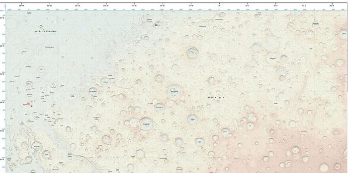 英国地形测量局依据美国太空总署数据资料绘制出第一张火星地图