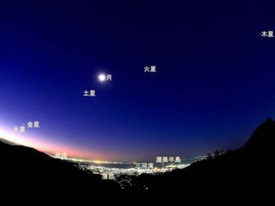 日本市民拍摄到月亮与火星、水星、木星、金星、土星齐聚天空的景象