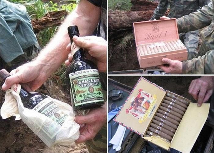 历史专家在行李箱内亦发现有酒类饮品和雪茄。