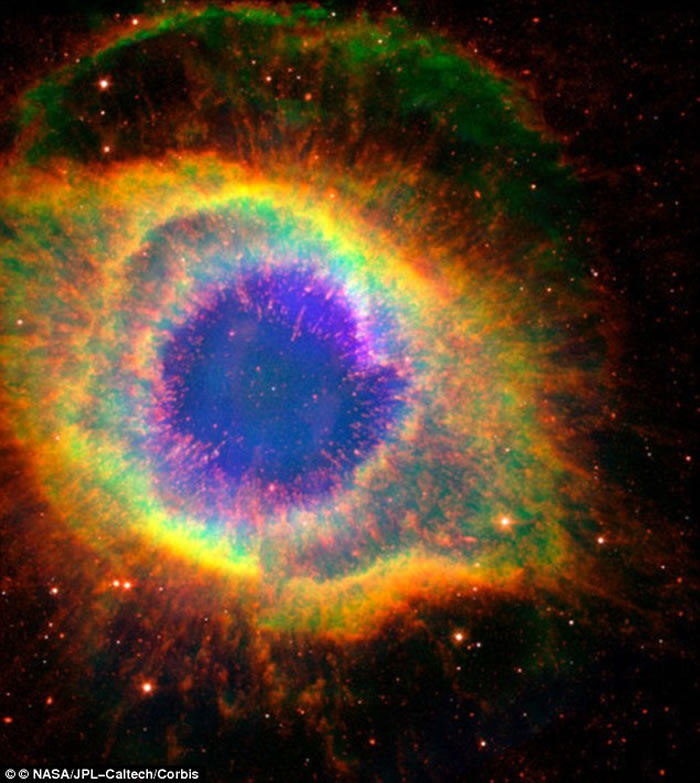 宝瓶座星云中的白矮星(气体云中心白点)
