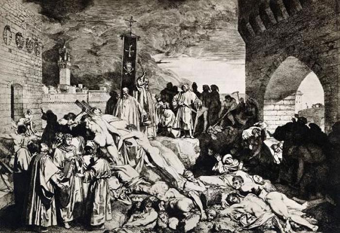 研究数世纪前黑死病死者骨骸得到的资料,对于预防现代流行病是非常宝贵的资讯。 Illustration by Giovanni Boccaccio, Corbis