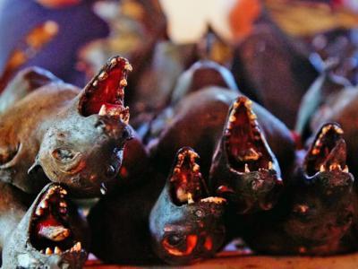 印尼米纳哈萨族人市集贩卖奇怪美食:蝙蝠、老鼠、蠎蛇、猴子