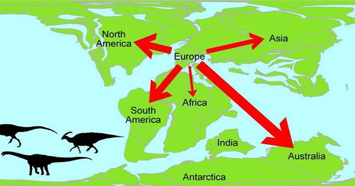 """英国研究人员运用""""网络理论""""揭示中生代恐龙家族从欧洲向世界其他地区迁徙状况"""