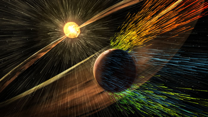 艺术家的想像图,太阳风将火星大气吹走。