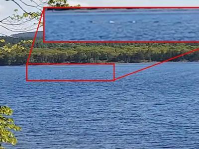 尼斯湖湖面拍摄到连续圆形隆起物 怀疑是尼斯湖水怪活动踪迹