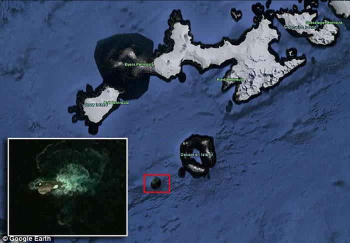 谷歌地球在南极洲奇异岛附远洋洋发明宏大年夜海怪?