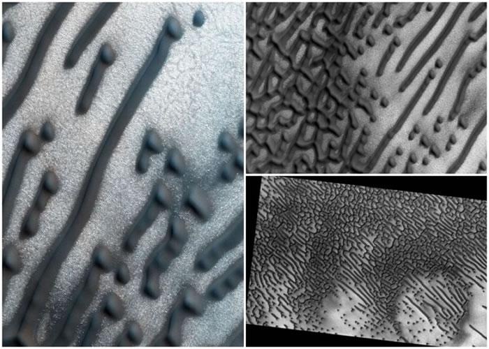火星探测轨道飞行器发现大量不规则的点状及条状图案。