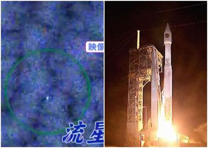 早前由火箭运载上太空(右图)的相机,成功拍摄到流星(左图)。