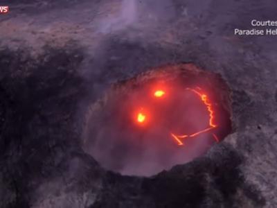 """美国夏威夷基拉韦厄火山喷发出现""""恐怖微笑"""""""