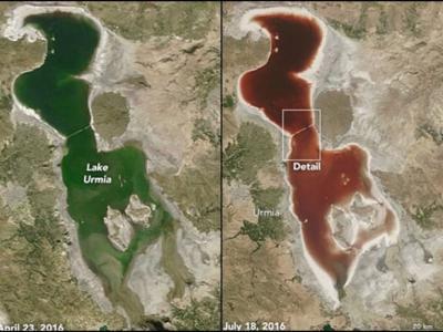 伊朗尔米亚湖(Lake Urmia)受夏季干旱影响湖水变成血红色