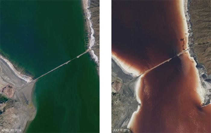 尔米亚湖桥梁周围水域放大图:可看出4月20日仍为绿色,到7月9日即转为红色。 / PHOTOGRAPH BY NASA EARTH OBSERVATORY