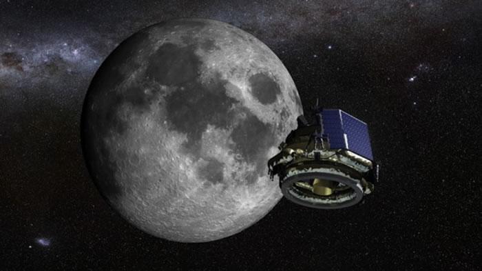 洗衣机大小的登陆器飞向月球模拟图。