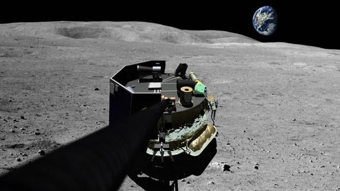 画家笔下登陆器在月球表面。