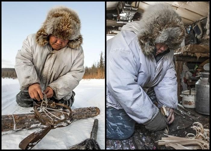 原住民制作不同工具,对抗狼袭。
