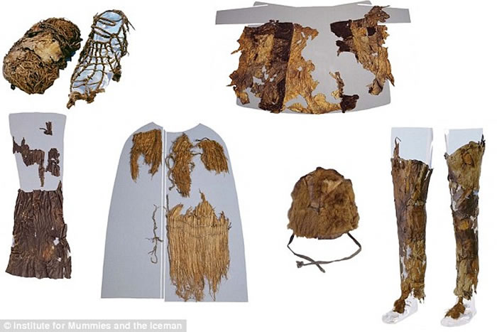 5300年前的冰人奥茨装束来自五种不同动物的皮毛