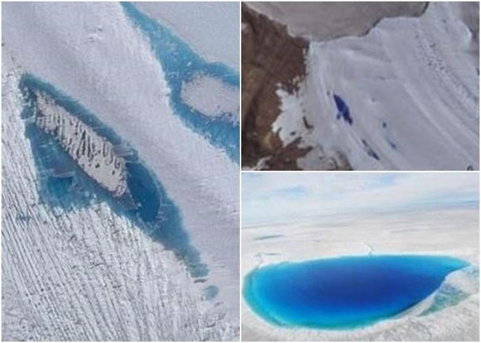 冰河学家南极相继出现多个冰上湖泊。