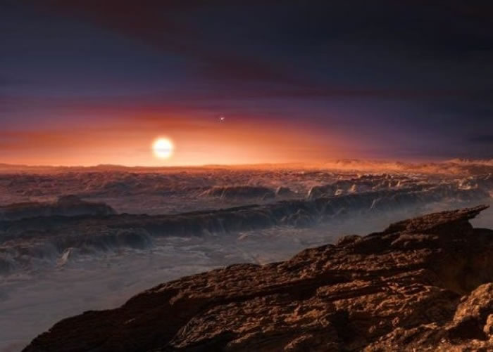 """科学家发现可能宜居的行星""""Proxima b""""。图为该行星地貌的构想图。"""