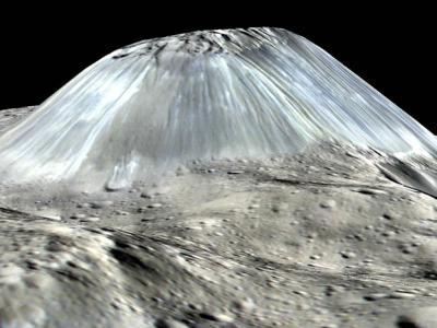 黎明号发现谷神星表面有座休眠火山──阿胡纳山 数亿年前曾经喷冰