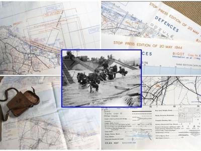 二战盟军诺曼底登陆罕见地图拍卖 精准绘出德军部署