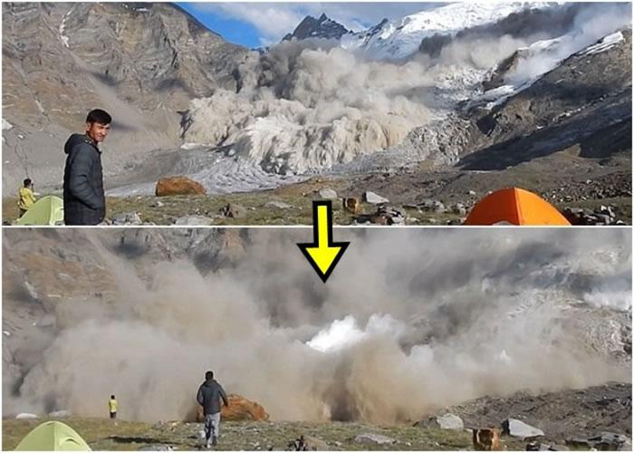 研究员无惧雪崩来袭,走近现场观赏奇景。